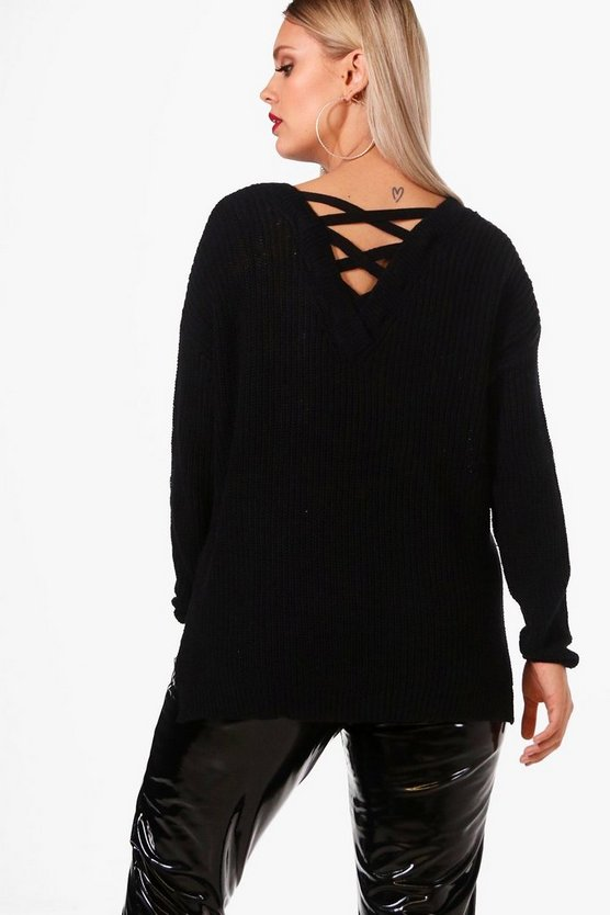 Plus Nancy Lace Up Back Detail Rib Jumper
