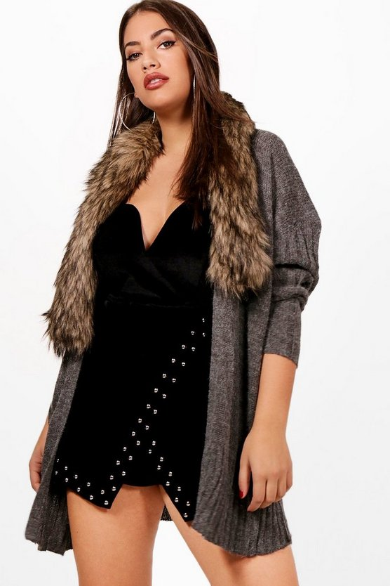 Plus Sadie Edge To Edge Cardigan With Detachable Fur