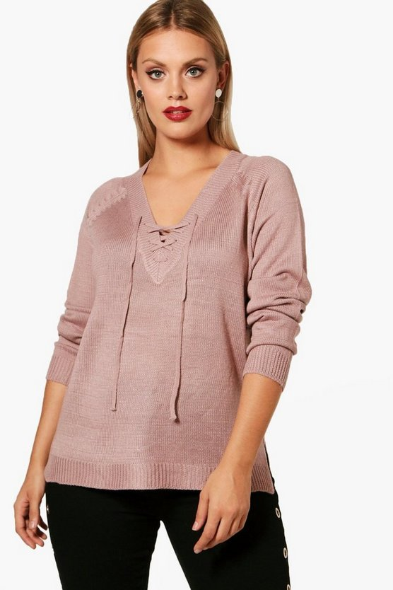 Plus Katie V Neck Jumper With Lace Up Detail