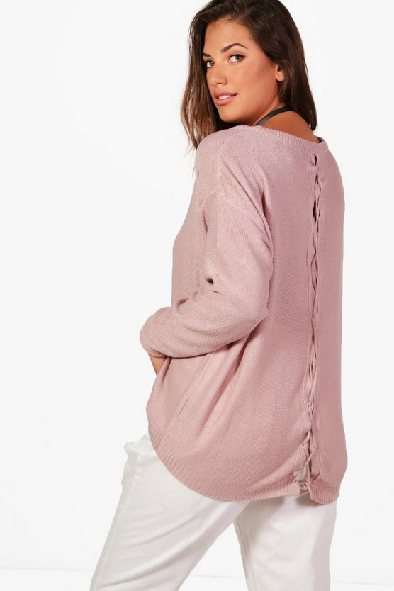 Plus Imogen Lace Up Back Jumper