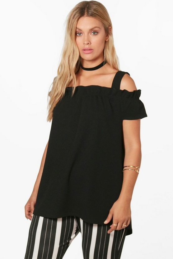 Plus Bridget Box Pleat Bardot Top