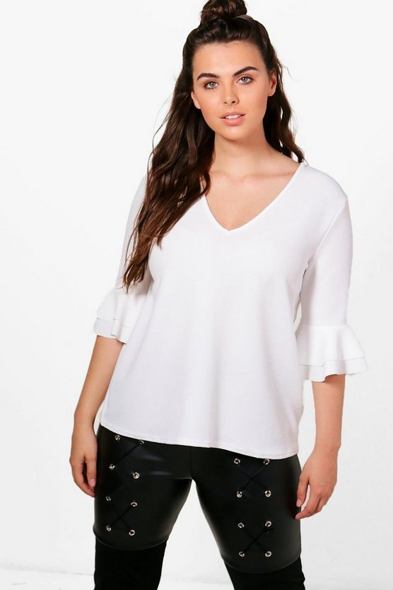 Plus Stacey Ruffle Sleeve V Neck Top