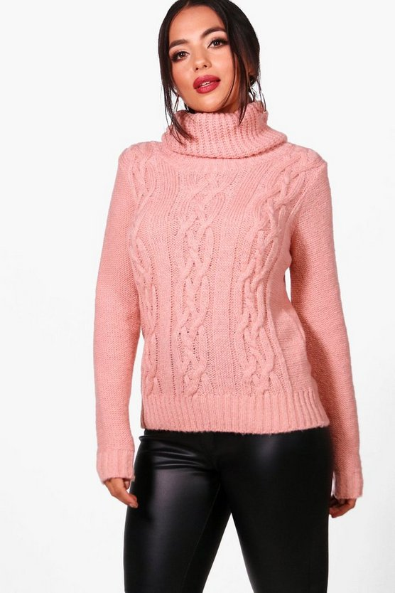 Petite Sian Cowl Neck Cable Knit Jumper