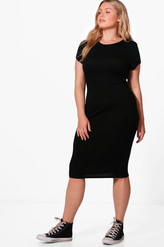 Plus Veronica Cap Sleeve Midi Dress
