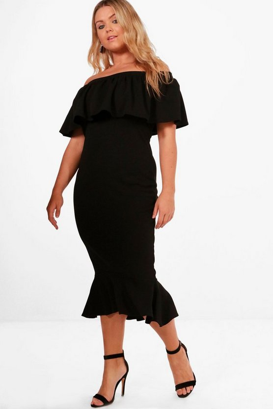 Plus Bethany Off The Shoulder Frill Hem Midi Dress