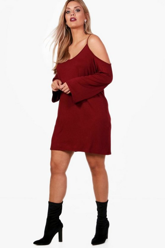 Plus Tina Open Shoulder Shift Dress