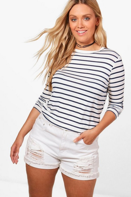 Plus Alice Striped Long Sleeve Top