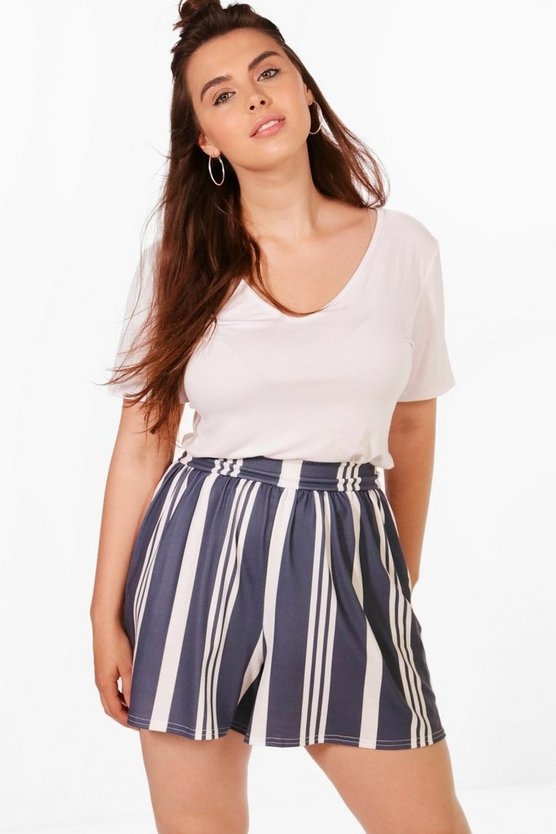 Plus Gemma Striped Flippy Shorts