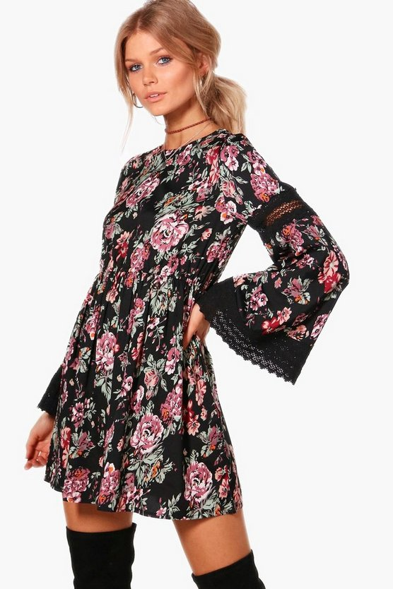 Petite Georgia Floral Crochet Trim Dress