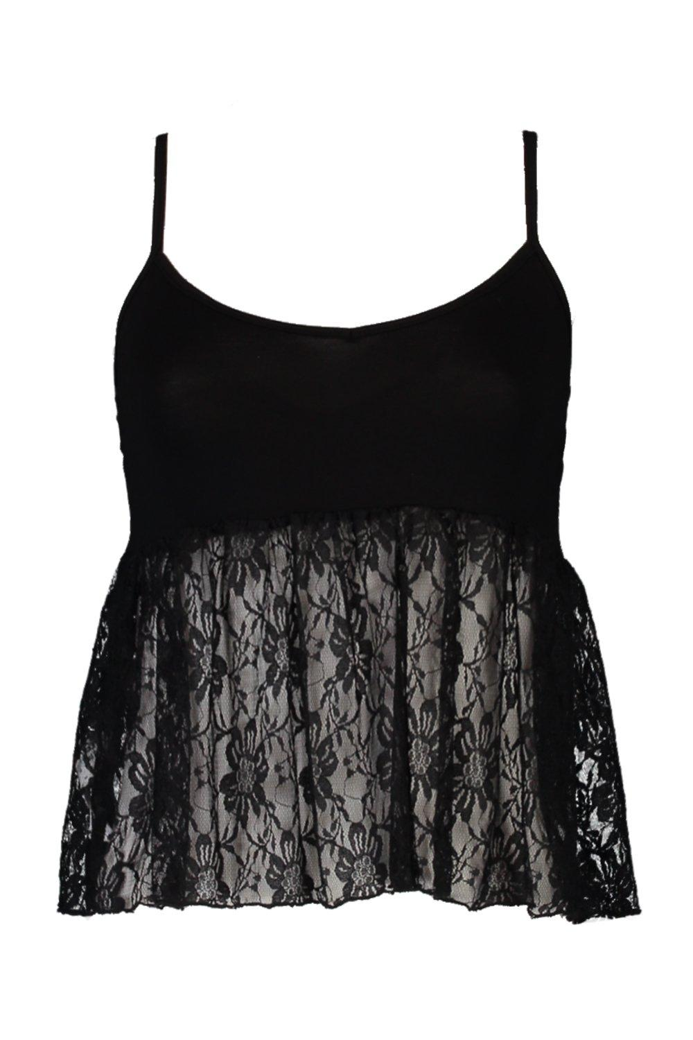 NEW-Boohoo-Womens-Petite-Rhiannon-Lace-Peplum-Cami-in