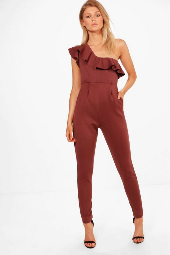 Petite One Shoulder Frill Jumpsuit by Boohoo