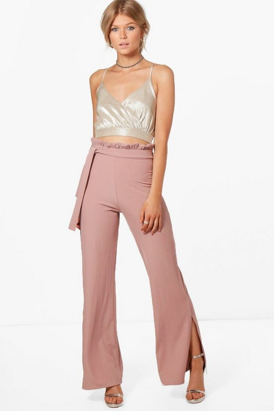 Petite Ellie Ribbed Paper Bag Wide Leg Trouser