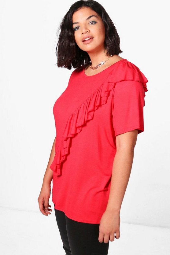 Plus Kylie Ruffle Detail Top
