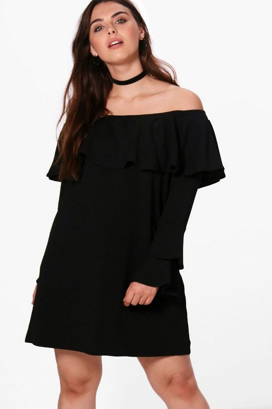 Plus Imogen Off The Shoulder Ruffle Shift