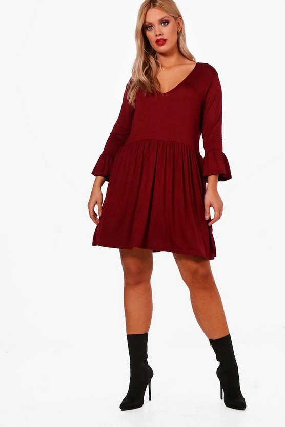 Plus Kathy V Neck Skater Dress