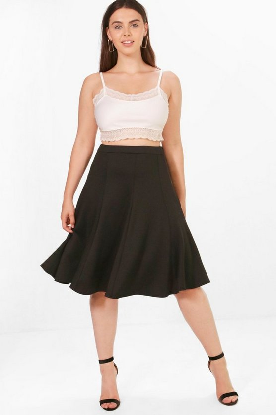 Plus Elsa Scuba High Waist Pleated Midi Skirt