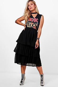 Plus Faye Maxirock mit Chiffon-Lage - Boohoo.com