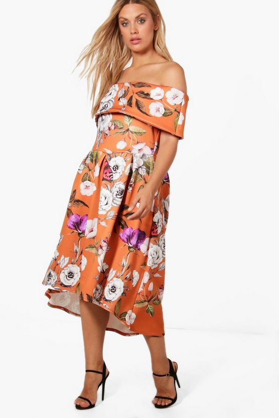 Plus Tia Floral Off The Shoulder Midi Skater Dress