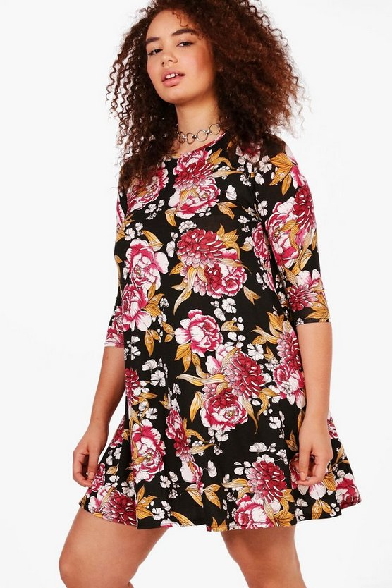Plus Debbie Floral 3/4 Sleeve Swing Dress