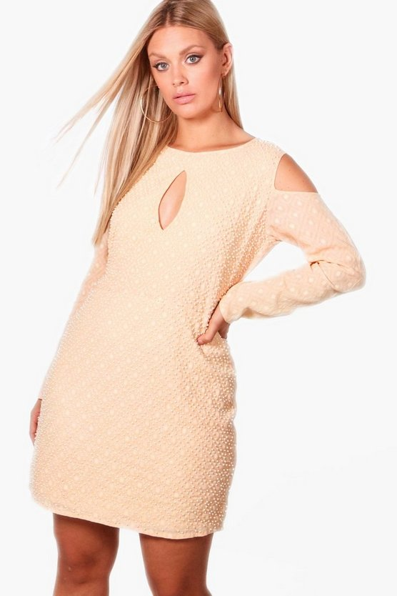 Plus Jaimie Pearl Embellished Cold Shoulder Dress