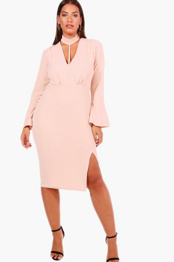 Plus Louise Choker Strap Detail Wrap Dress