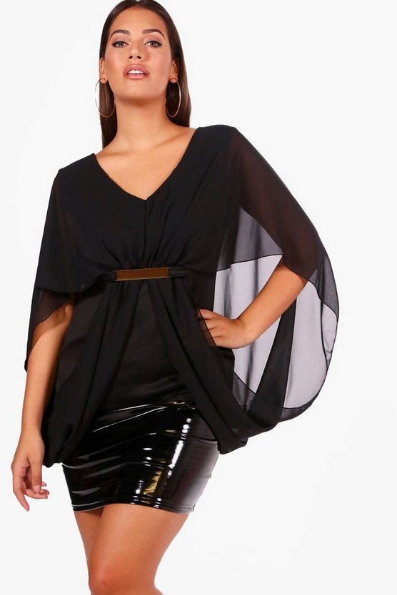 Plus Batwing Waist Trim Top