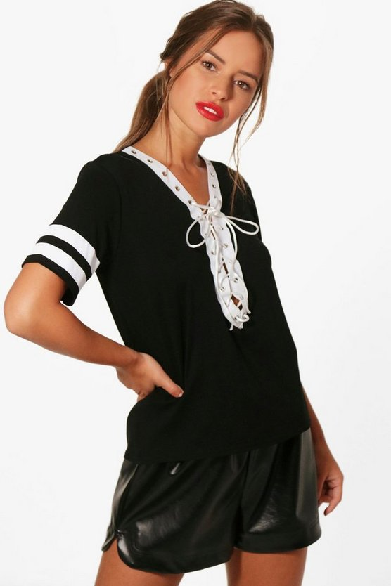 Petite Lara Lace Up Stripe Sleeve T-shirt