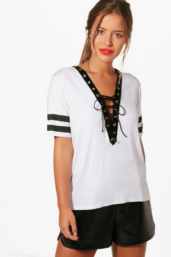 Petite Lace Up Stripe Sleeve T-shirt