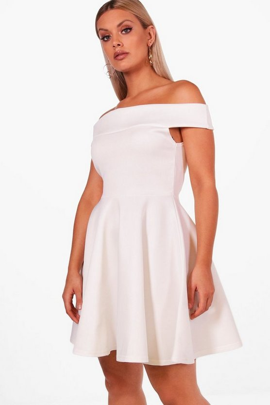 Plus Rachel Off The Shoulder Skater Dress