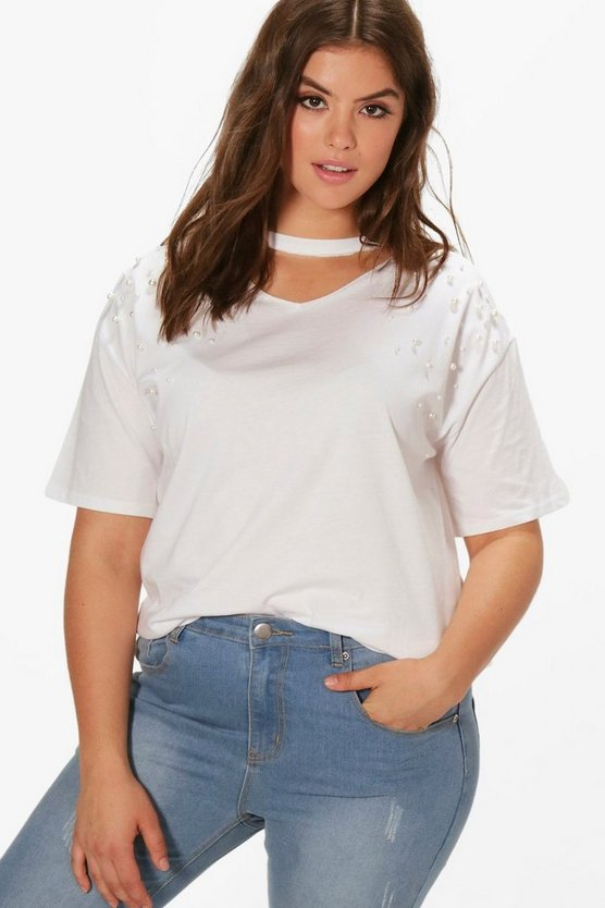 Plus Pearl Shoulder Choker T-shirt
