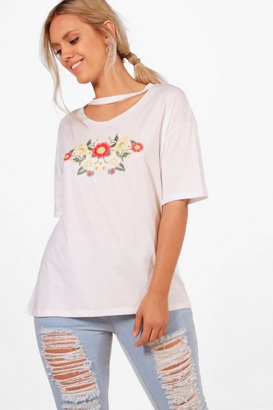 Plus Bella Embroidered Choker T-shirt