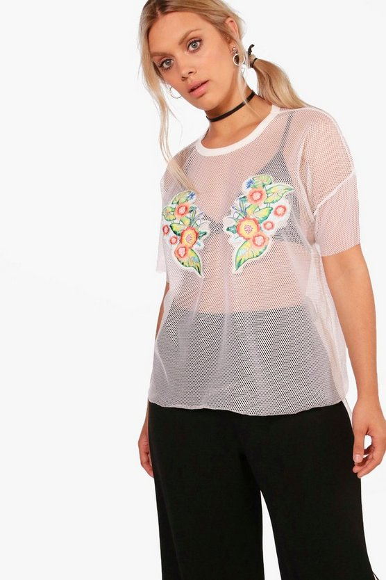 Plus Lissy Applique Fishnet Tee