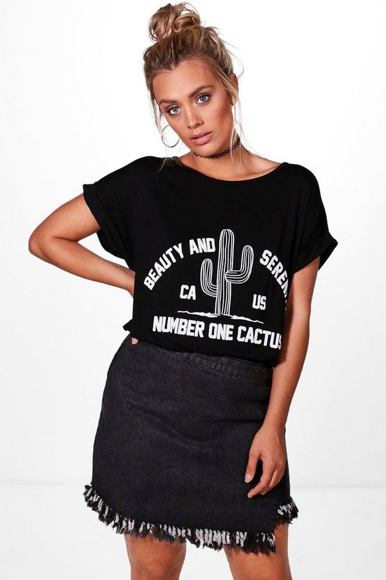 Plus Sophia Cactus Printed Slogan T-shirt