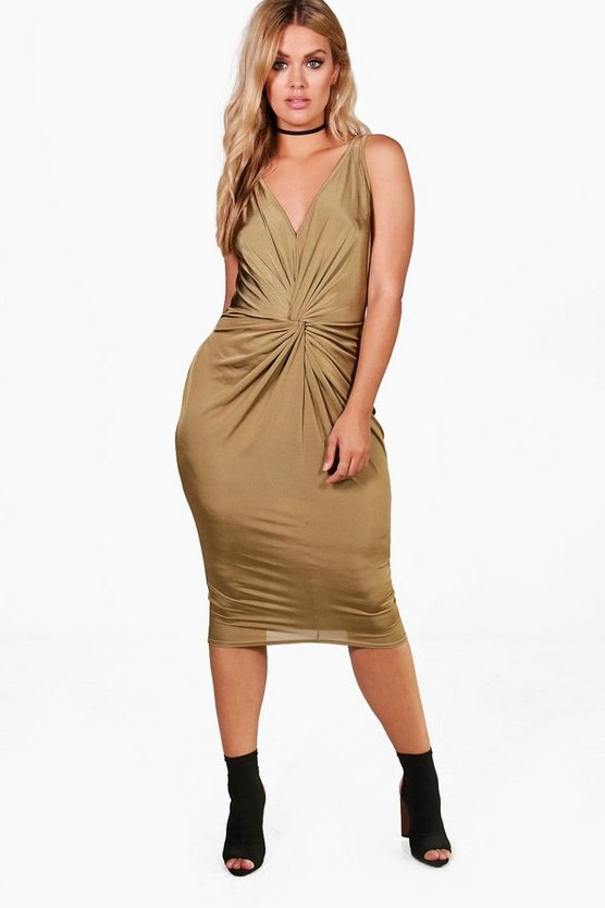 Plus Alicia Slinky Knot Front Midi Dress