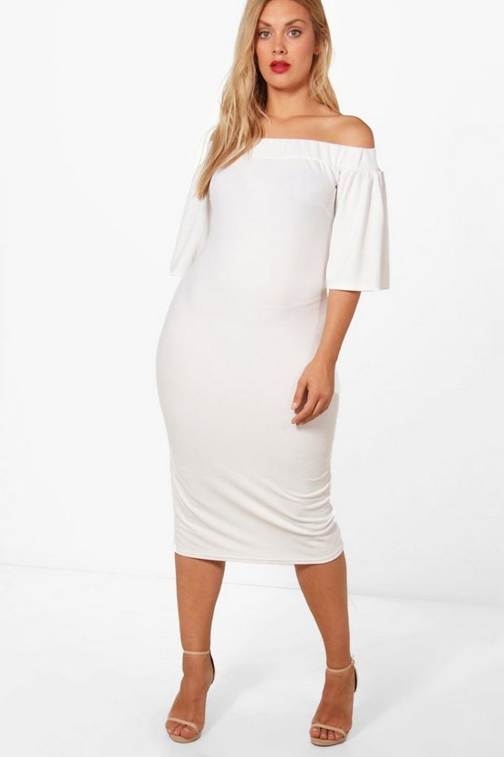 Plus Charis Off The Shoulder Frill Sleeve Midi Dress
