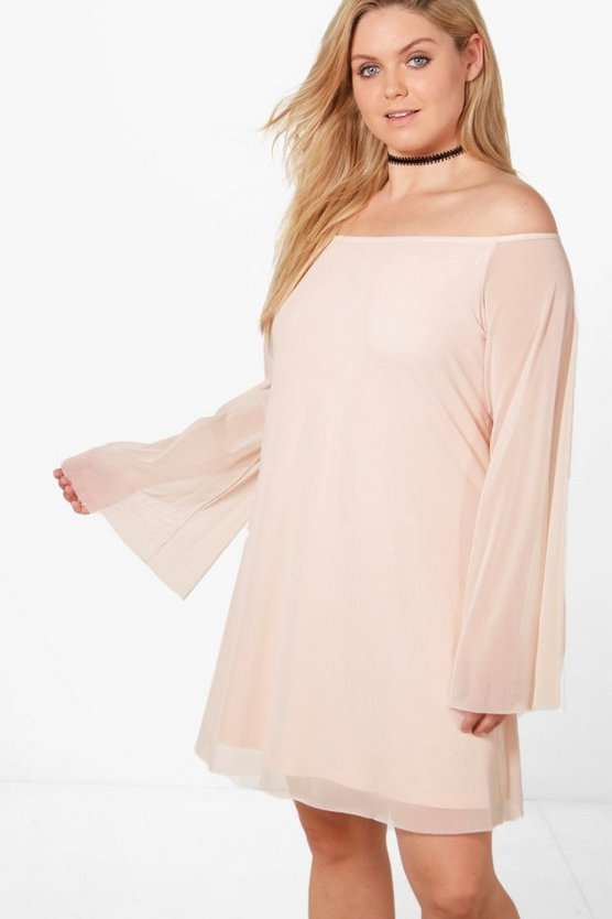 Plus Isla Off The Shoulder Mesh Swing Dress