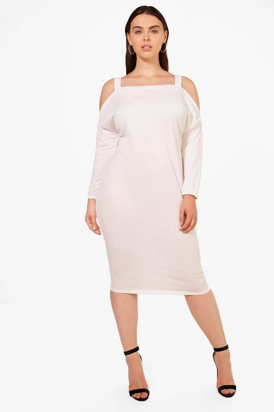 Plus Sasha Crepe Cold Shoulder Long Sleeve Dress