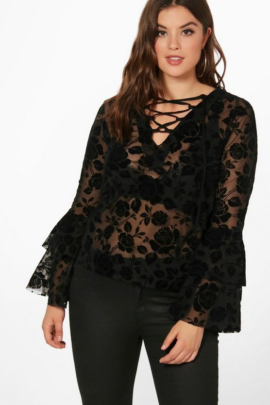 Plus Holly Flock Print Sheer Lace Up Top