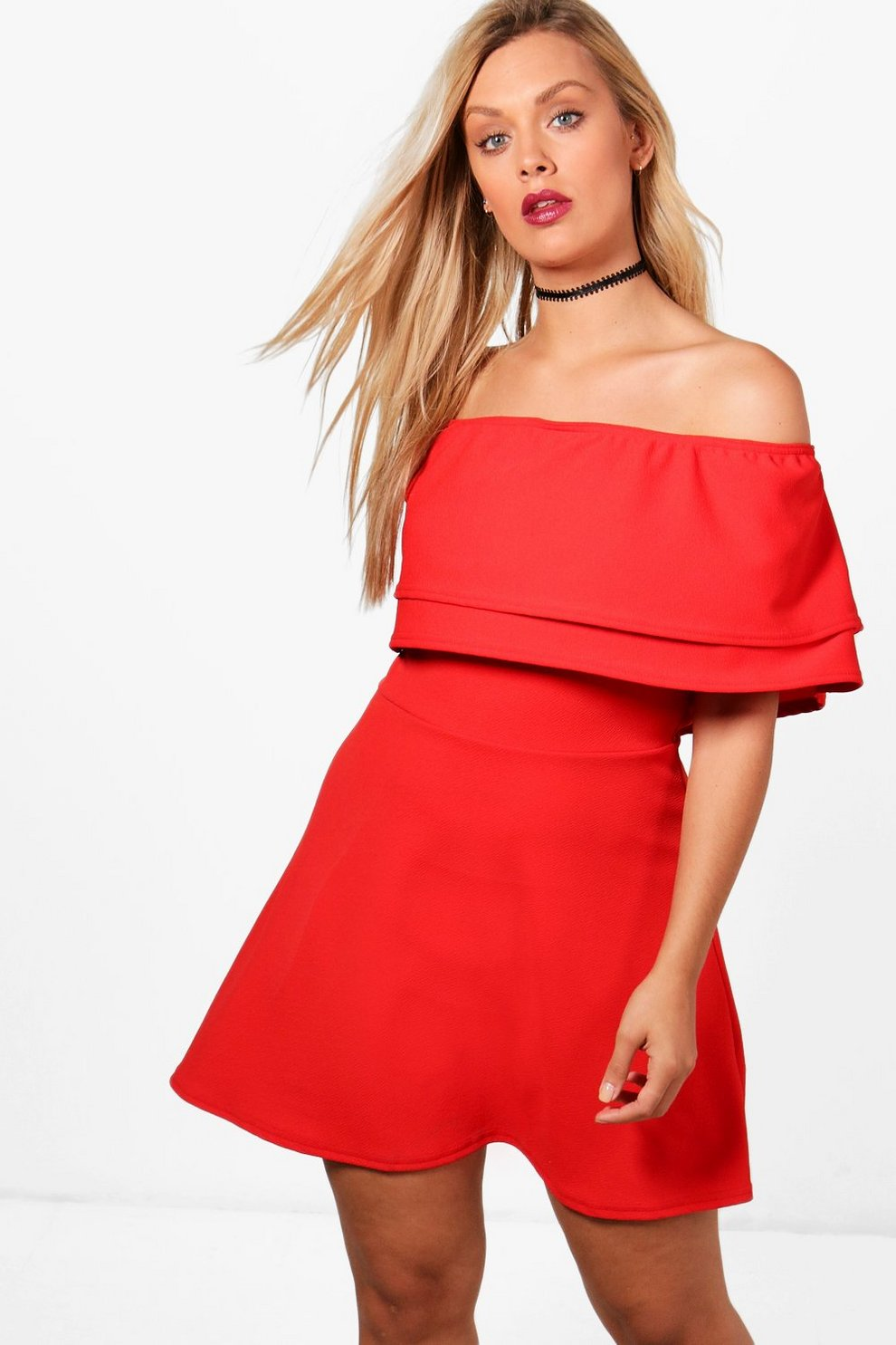 Boohoo Plus Off The Shoulder Ruffle Dress Wholesale Price For Sale bL8uX