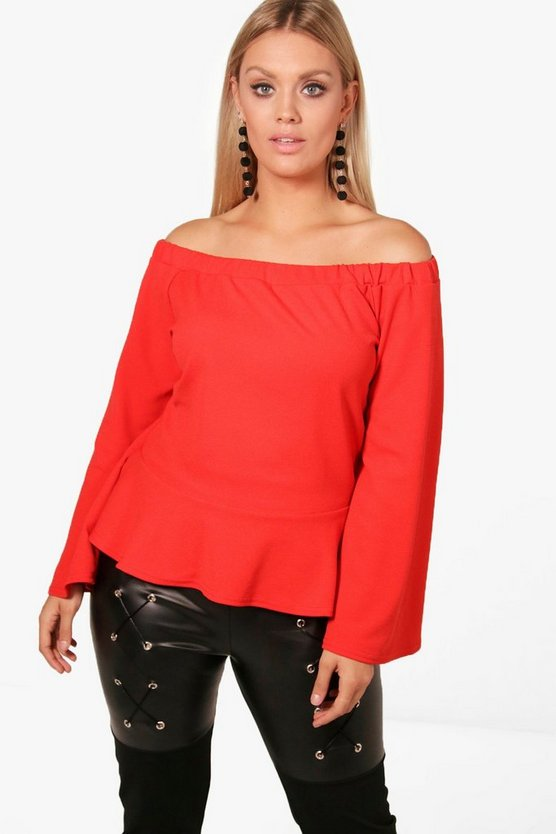 Plus Lora Off The Shoulder Ruffle Hem Top