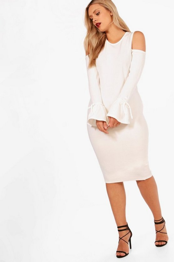 Plus Ellie Crepe Cold Shoulder Tie Sleeve Midi Dress