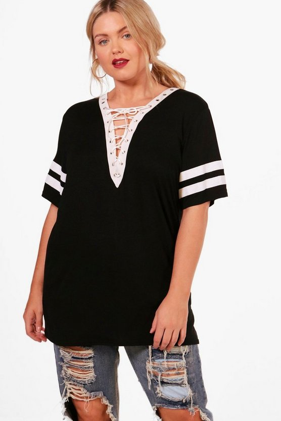 Plus Imogen Lace Up Baseball T-shirt