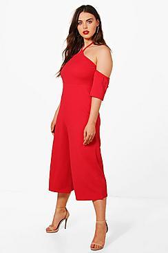 Plus Anya Jumpsuit mit ausgeschnittenen Schultern und Hosenrock - Boohoo.com