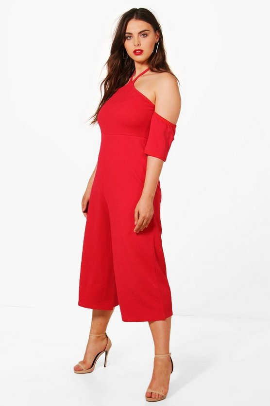 Plus Anya Cold Shoulder Culotte Jumpsuit