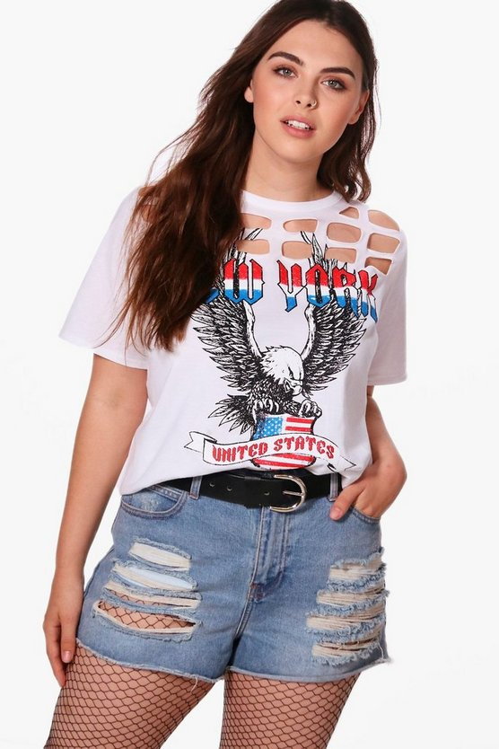 Plus Nancy Caged Printed Tee