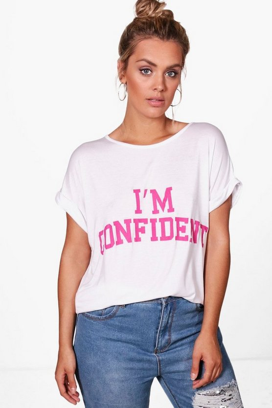 Plus Amelia Confident Slogan T-shirt