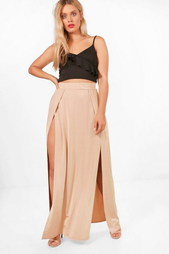 Plus Saskia Slinky Split Maxi Skirt