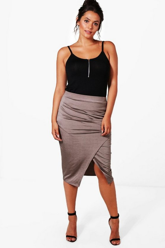 Plus Slinky Ruched Wrap Midi Skirt