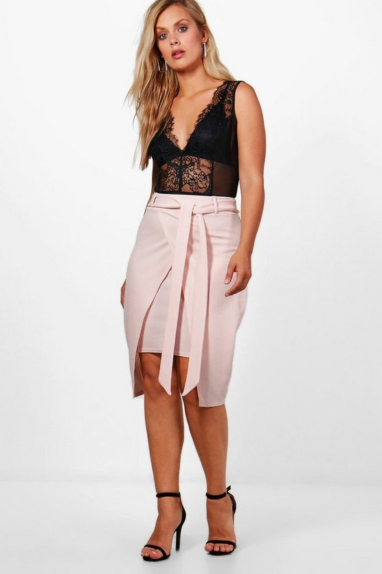Plus Isobel Crepe Wrap Tie Belt Midi Skirt