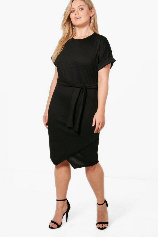 Plus Esther Asymmetric Tie Waist Wrap Dress